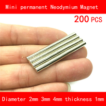 200PCS diameter 2mm 3mm 4mm thickness 1mm n35 Rare Earth strong NdFeB Neodymium Magnet