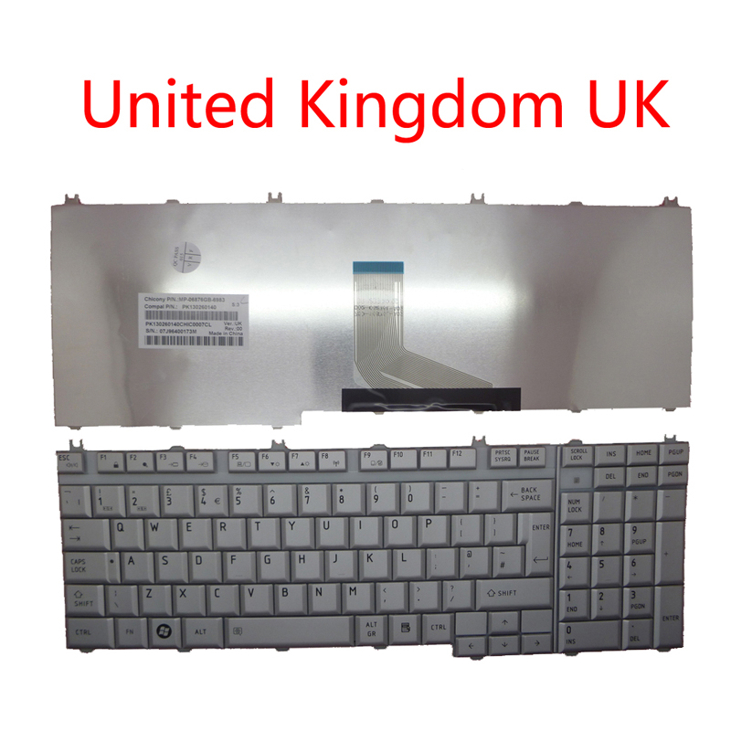 Laptop Keyboard For Toshiba For Satellite P200 P200D P205 P205D X200 X205 PK130260140 United Kingdom UK Silver And CPU Fan New