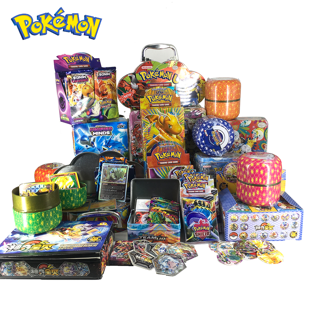 Pokemon Cards Cover Flash Card 3D Version SWORD SHIELD SUN&MOON Portable Iron Box Card Collectible Gift Children Toy