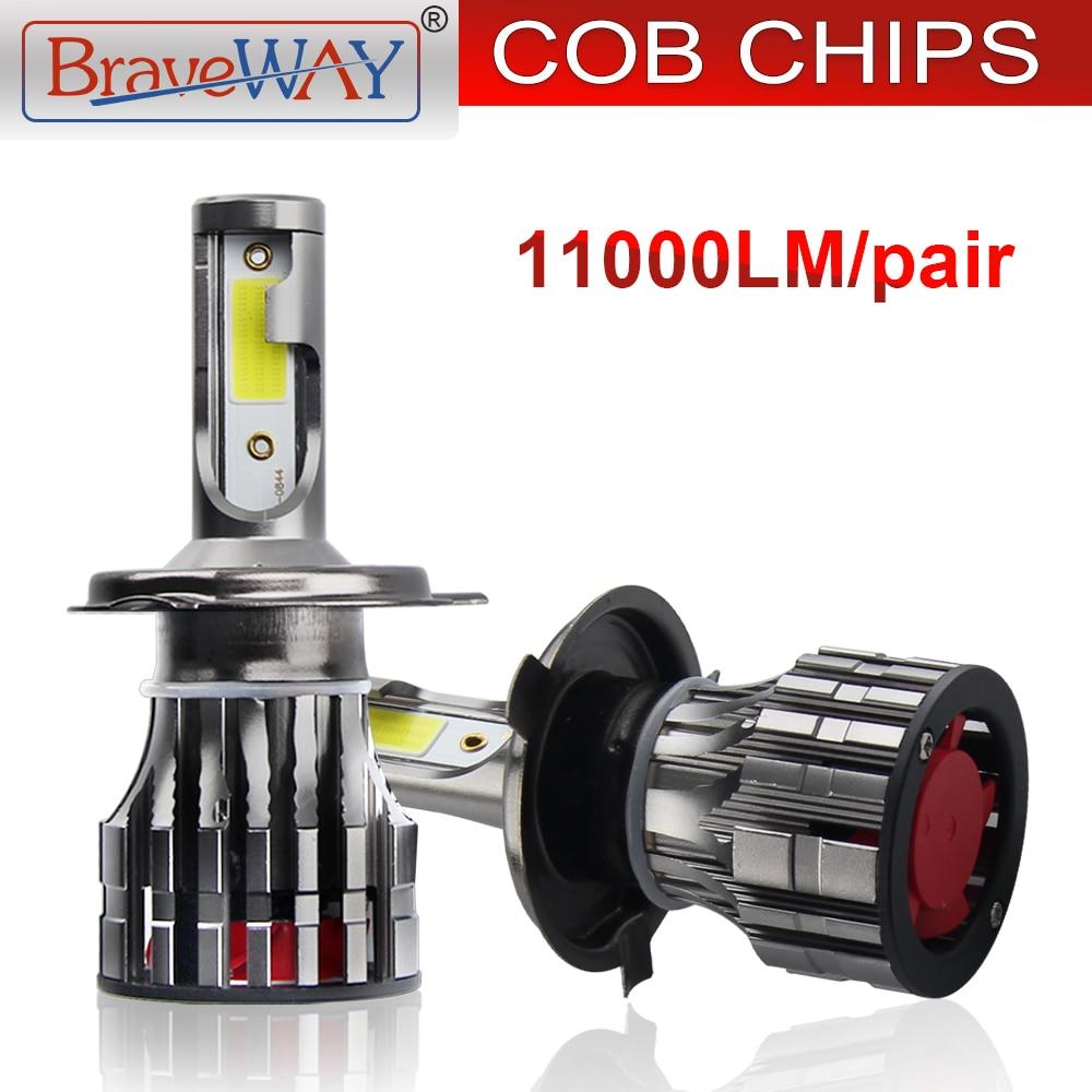 BraveWay 11000LM H1 H4 H7 H11 HB3 HB4 LEVOU Farol Lâmpada 9005 9006 LED Farol para Luz de Neblina Do Carro Turbo lâmpadas LED para Motocicleta