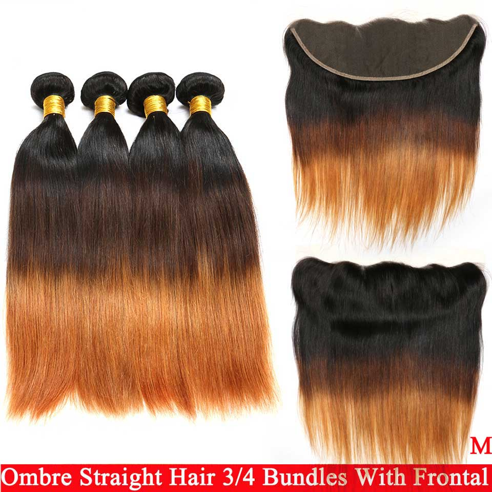 Indian Straight Hair Bundles With Frontal Ombre 1B 4/27/30 Remy Hair Bundles With Frontal 100% Human Hair Weave Free Shipping