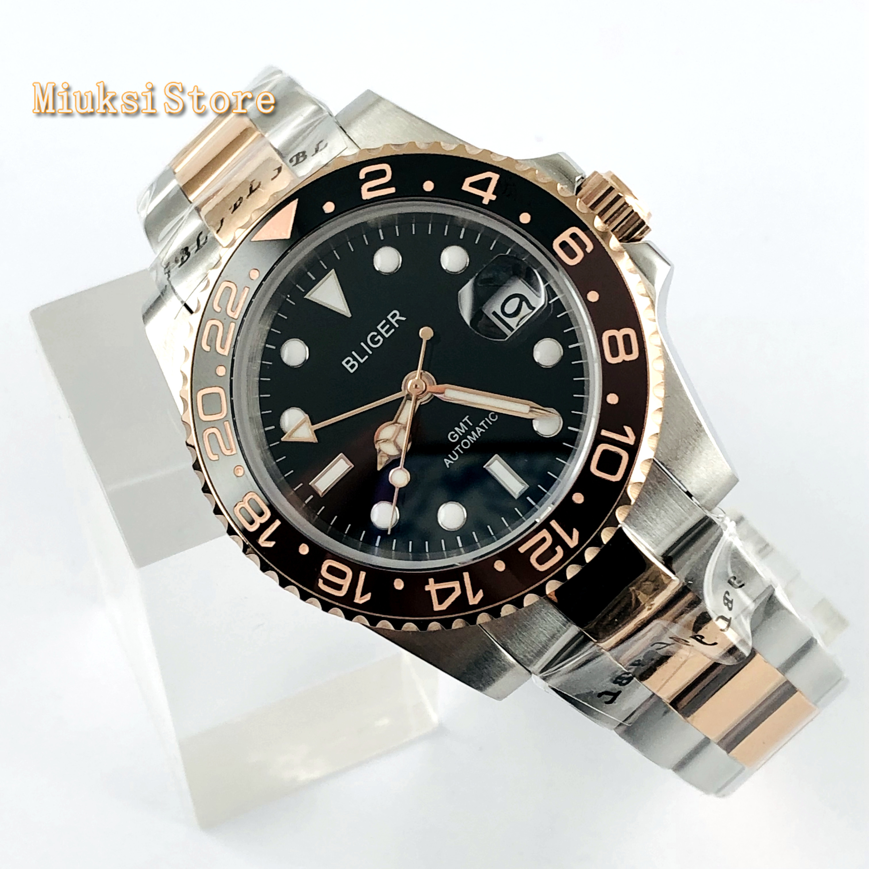 Bliger 40mm top mens negócios assista GMT black dial data vidro de safira painel de cerâmica janela luminosa relógio mecânico automático