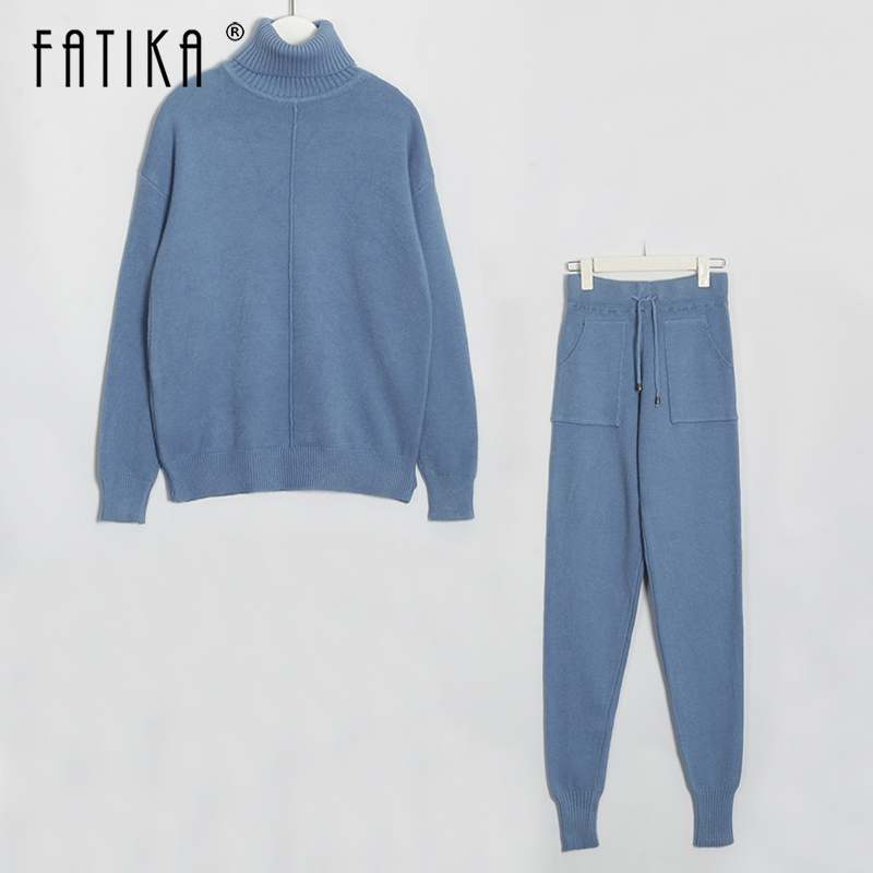 FATIKA Sweater Suits Knitted Suit Long Sleeve Turtleneck Jumper Tops And Pants Womens Two Pieces Sets Autumn Winter