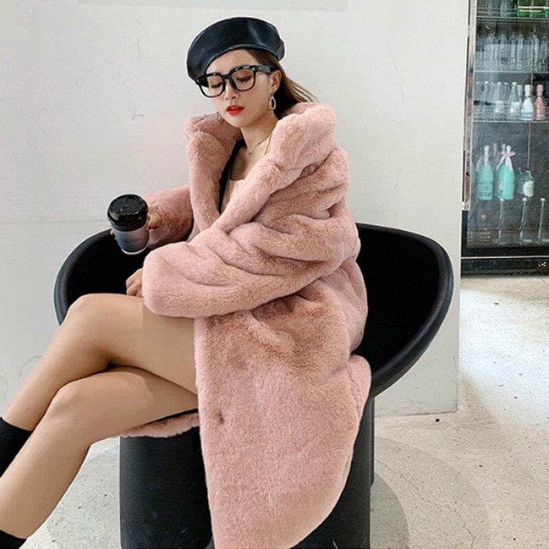 Winter Women High Quality Faux Marten Hair Fur Coat Luxury Long Fur Coat Loose Lapel OverCoat Thick Warm Plus Size Female Plush