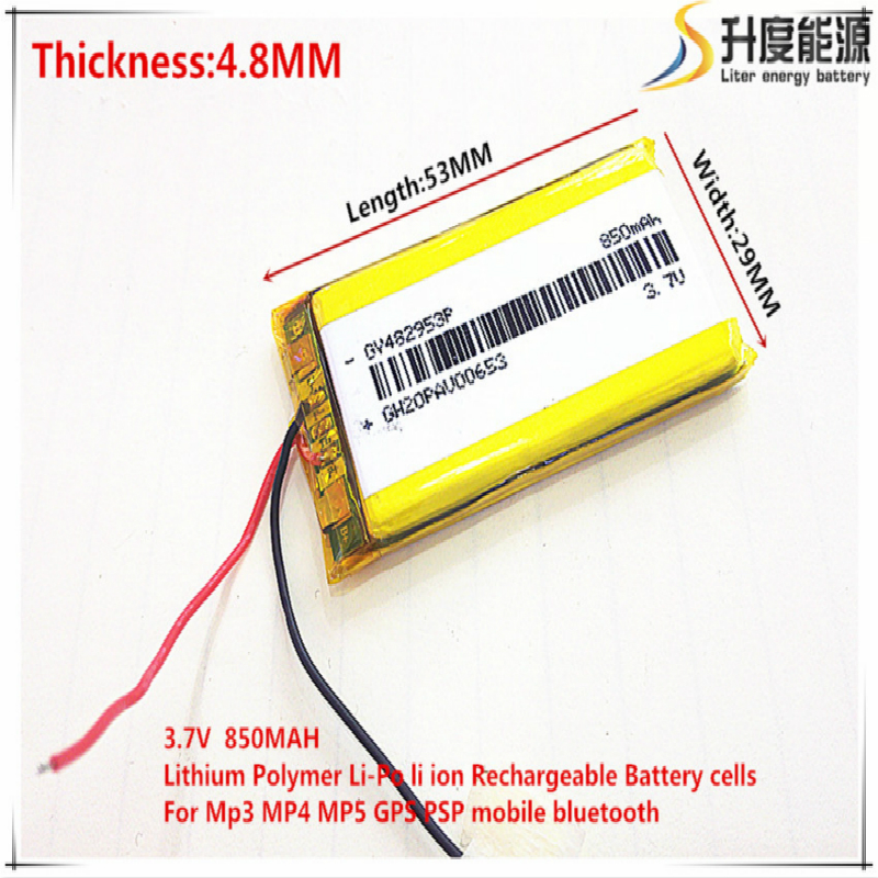 Free shipping 3.7V,850mAH 482953 PLIB; polymer lithium ion / Li-ion battery for dvr,GPS,mp3,mp4,cell phone,speaker
