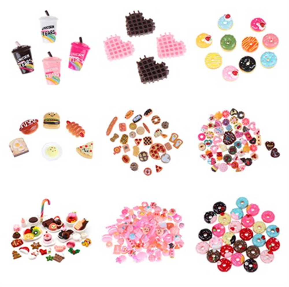 10pcs/lot DIY Mini Play Food Cake Biscuit Donuts Dolls Pretend Phone Accessories Slime Material Toy For Dolls Accessories Random
