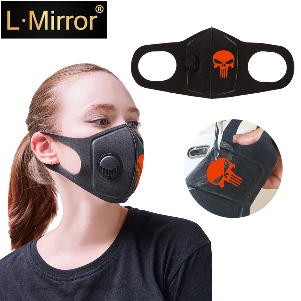L.Mirror Respiratory Dust Mask Upgraded Version Men Women Anti-fog Haze PM 2.5 Pollen Cropped Breathable Valve Skull Mouth Mask