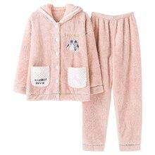 Brand Winter Warm Coral Fleece Cartoon Women's Pajama Sets Soft Velvet Sleep