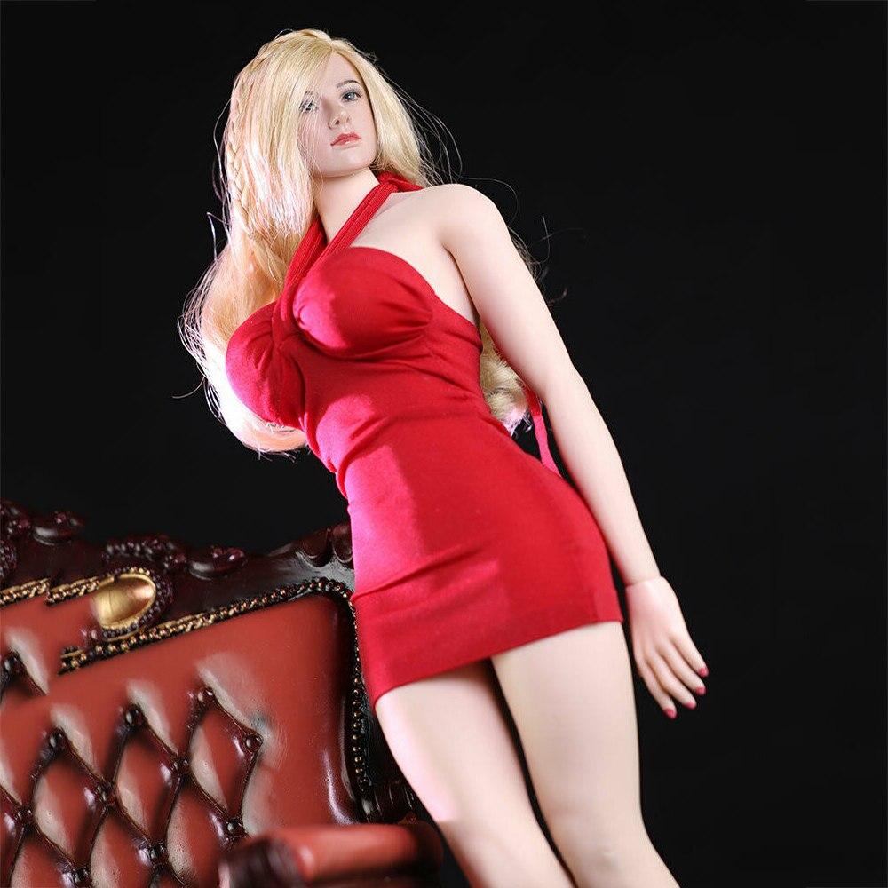 1/6 vestito da anca per borsa da soldato femminile rosso per corpo da 12 pollici