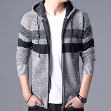 2019 Sweater Men Casual Mens Winter Thick Warm Hooded Cardigan Jumpers Striped Cashmere Wool Zipper Fleece Coats