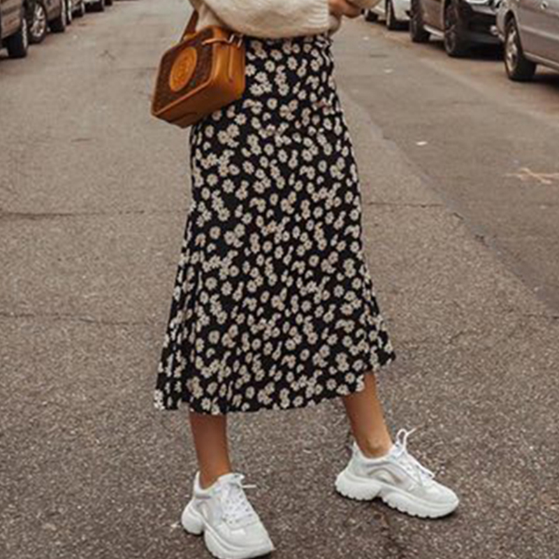 Foridol Daisy Print Maxi Long Skirt Women High Waist Boho Black Skirt High Street Chic A-line Beach Skirt Faldas 2020 Summer