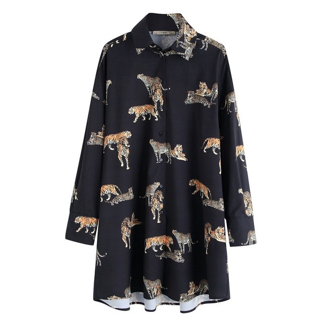 High Street Vintage Tiger Print Women Blouse Loose Blusas Mujer De Moda 2020 Long Blouse  Shirts Oversized Womens Tops Dropship 2