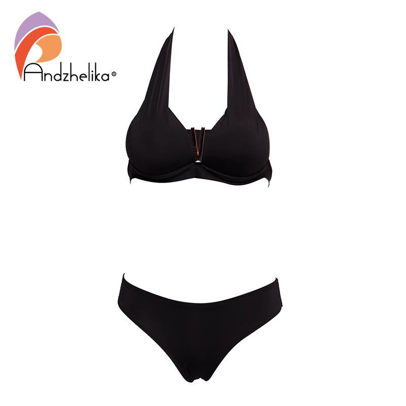 Andzhelika Sexy Bikinis Women Swimsuit Solid V Push Up Bikini Set Brazilian Two Piece Swimwear 2020 Summer Beach Bathing Suit