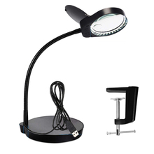 PDOK 3x10x Lighted Magnifier with Stand & Clamp Bright LED Magnifying Desk Lamp for Reading, Close Work, Task, Workbench, Craft