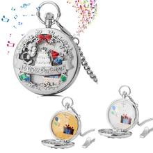 Music Pocket Watch Men's Silver Birthday Pocket Clock Quartz White Gold Dial Ladies Pendant Chain Watches Best Birthday Gifts