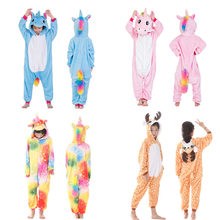 2019 Kigurumi Children Unicorn Pajamas Stitch Panda onesie Boys Girls Sleepwear Winter Pajamas Flannel Animal Kids Onesie 4-12(China)
