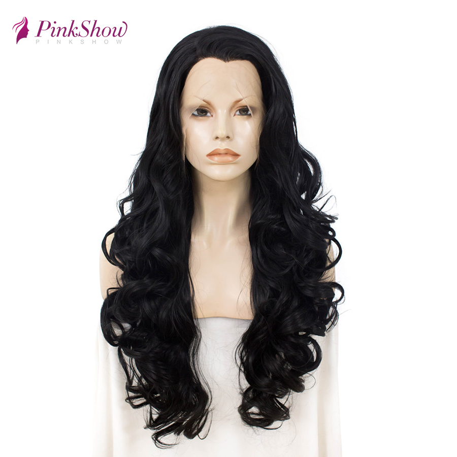 Pinkshow длинные черные парики на кружеве для женщин синтетические парики на кружеве натуральные волнистые бесклеевые термостойкие волокна