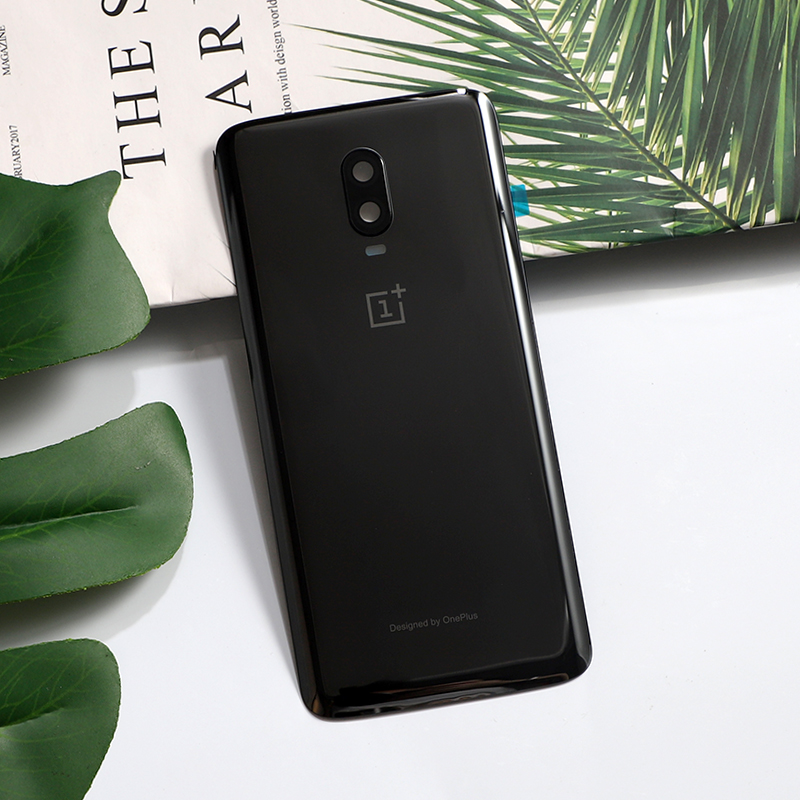 Oneplus6T Original Rear Housing Cover For Oneplus 6T One Plus Back Door Shiny Glass Repair Battery Case + Camera Lens Glue