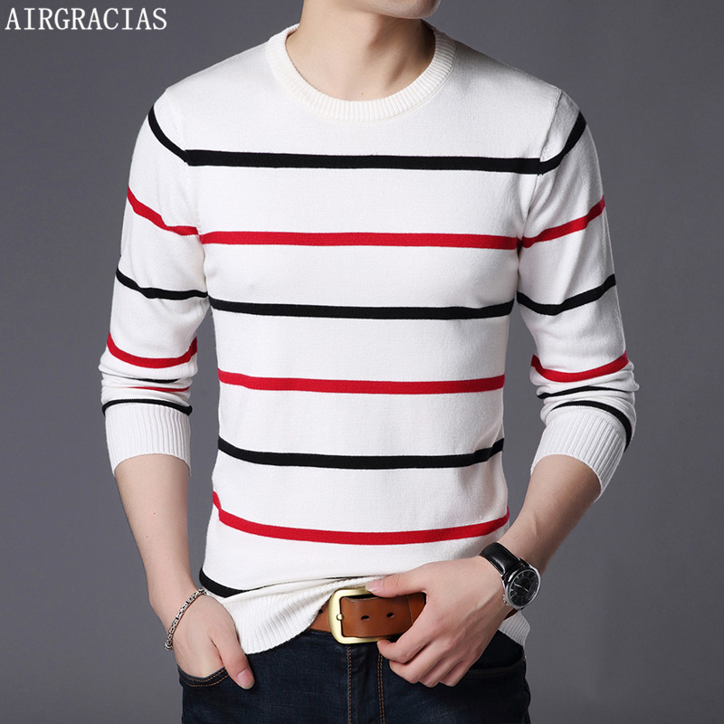 AIRGRACIAS Pullover Men Brand Clothing 2019 Autumn New Wool Slim Fit Sweater Men Casual Striped Pull Jumper Men Pull Homme