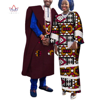 2020 Spring African Couple Clothes 2 Pieces Lovers Couples Clothing Print Dashiki Bazin Riche Plus Size Clothing 6xl BRW WYQ217