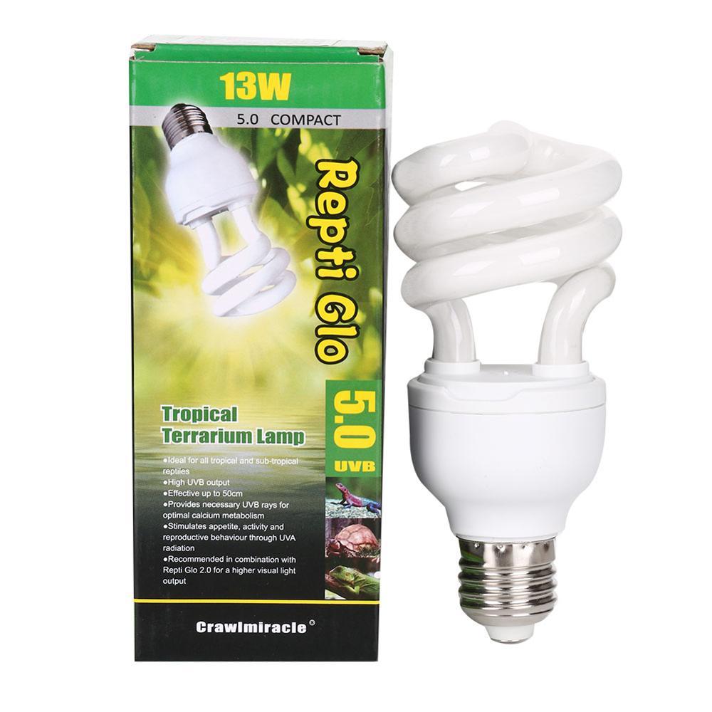 HKML Dropship 5.0 10.0 UVB 13W Reptile Light Bulb UV Glow Lamp For Vivarium Terrarium Tortoise ES-E27 Energy Saving Lamps