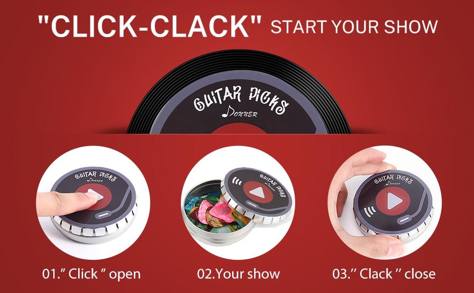 Guitar picks with click-clack case- guitarmetrics