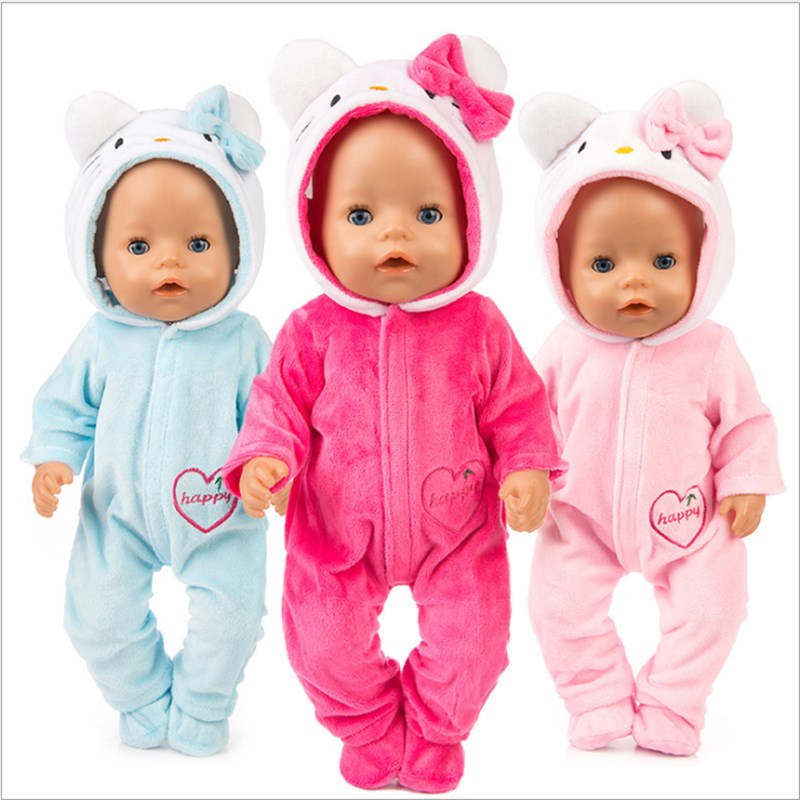 Fit 18 Inch 40-43cm Born New Baby Doll Clothes Doll Pink BlueUnicorn Ostrich Cat Pony Accessories Clothes For Baby Birthday Gift