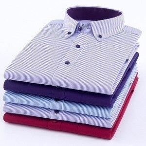 Image 4 - Artı boyutu 8XL erkekler gömlek uzun kollu katı çizgili gömlek erkekler elbise büyük 7XL 6XL beyaz sosyal gömlek erkek giyim streetwear