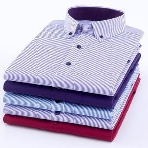Image 4 - Plus rozmiar 8XL koszula męska z długim rękawem stałe koszule w paski mężczyźni sukienka duża 7XL 6XL białe koszule na przyjęcia towarzyskie mężczyźni odzież Streetwear
