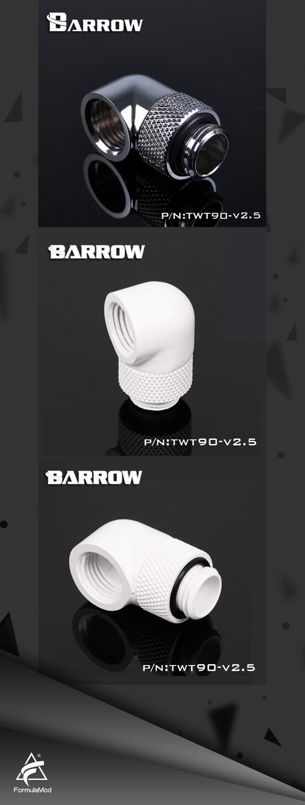 Barrow TWT90-v2.5, G1/4'' Thread 90 Degree Rotary Fittings, Seasonal Hot Sales,One Of The Most Practical Water Coolling Fittings