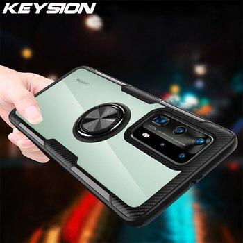 Перейти на Алиэкспресс и купить Ударопрочный чехол KEYSION для Huawei P40 Pro P40 Lite 5G P30 P20, прозрачная Магнитная задняя крышка для телефона Huawei Mate 30 Pro 20