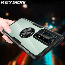 Keysion Shockproof Case Voor Huawei P40 Pro P40 Lite 5G P30 P20 Clear Magnetische Ring Telefoon Back Cover Voor huawei Mate 30 Pro 20