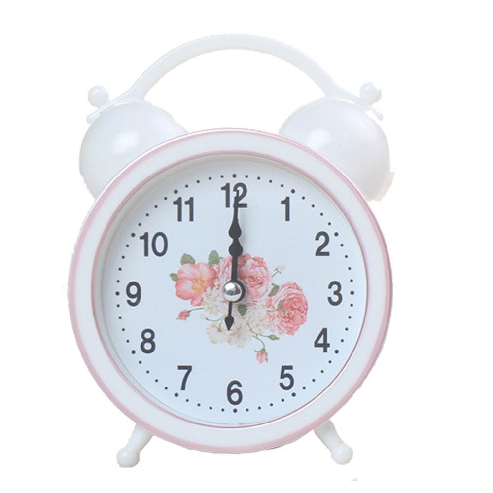 Hot Sle Alarm Clock Vintage Retro Silent Pointer Table Seat Clocks Round Luminous Alarm Clock Bedside Night Light Home Decor