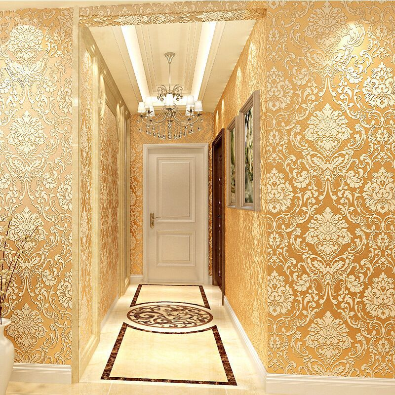 Non-woven Wallpaper European Style Luxury Relief Rotary Screen Craft Wallpaper Bedroom Living Room Wall Wallpaper Glutinous Rice