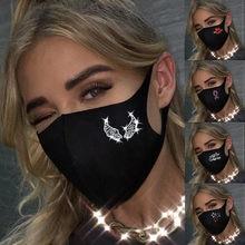 Estrelas asas bordo vermelho rainha coroa padrão strass máscara facial feminino reutilizável ao ar livre respirável moda algodão à prova de vento máscara