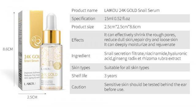 24K GOLD Face Cream Whitening Moisturizing Snail Serum Snail Essence 24 K Gold Day Creams & Moisturizers Skin Care TSLM1