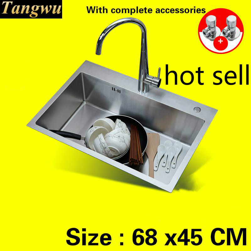 Free Shipping Apartment Hot Sell Kitchen Sink Manual 304 Stainless Steel 4 Mm Thick Single Slot  680x450  Mm