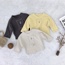 Korean style Spring cartoon bear printed long sleeve T shirts for kids baby boys girls pure cotton all-match casual loose Tees