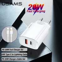 USAMS USB Type C 20W PD Fast Charger With PD Quick Charging Cable Set For Ipad Iphone 12 11 Pro Max Mini 11 8 Huawei Xiaomi Samsung