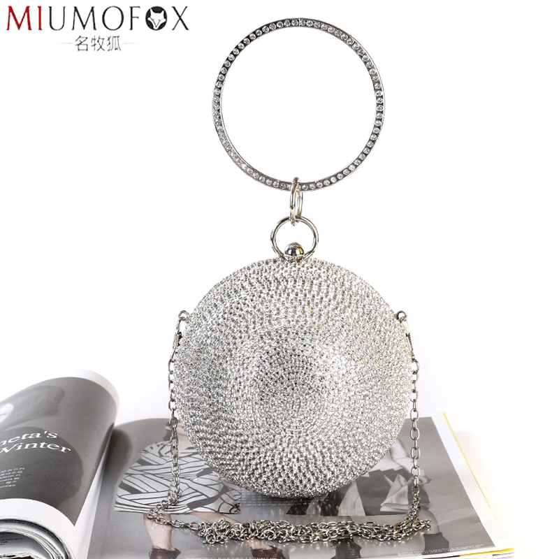 Rhinestonel Ball Evening Bag Bridal Wedding Small Purse 2020 New Women Chain Diamond Spherical Party Shoulder Bags Clutch Female