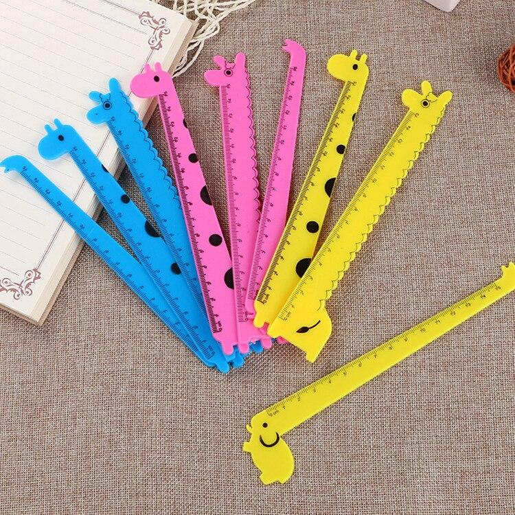 40 Pcs/lot Cartoon Giraffe Ruler Cute 15cm Measuring Straight Rulers Drawing Tool Promotional Stationery Gift School Supplies