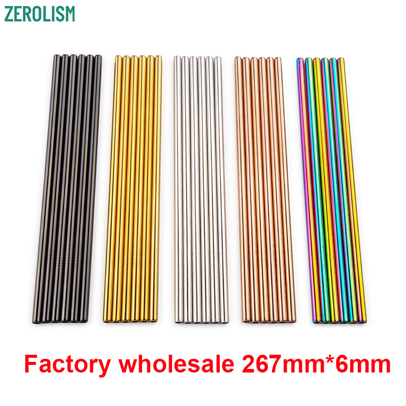 Metal Straw 100pcs/lot Reusable Stainless Steel Straw E-co Friendly Drinking Tubules 267mm*6mm Straight Bent Straws For Drink