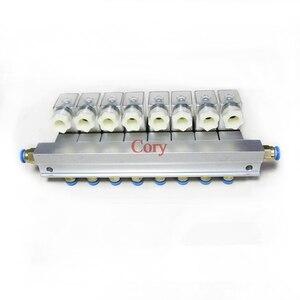 Image 2 - 1 pc 電磁弁バスバー 2 ウェイ空気圧アルミセット 2V025 06/08 ポート 1/8 1/4 bsp pushfit 継手 6 ミリメートル DC24V/12 v AC220V/110 v