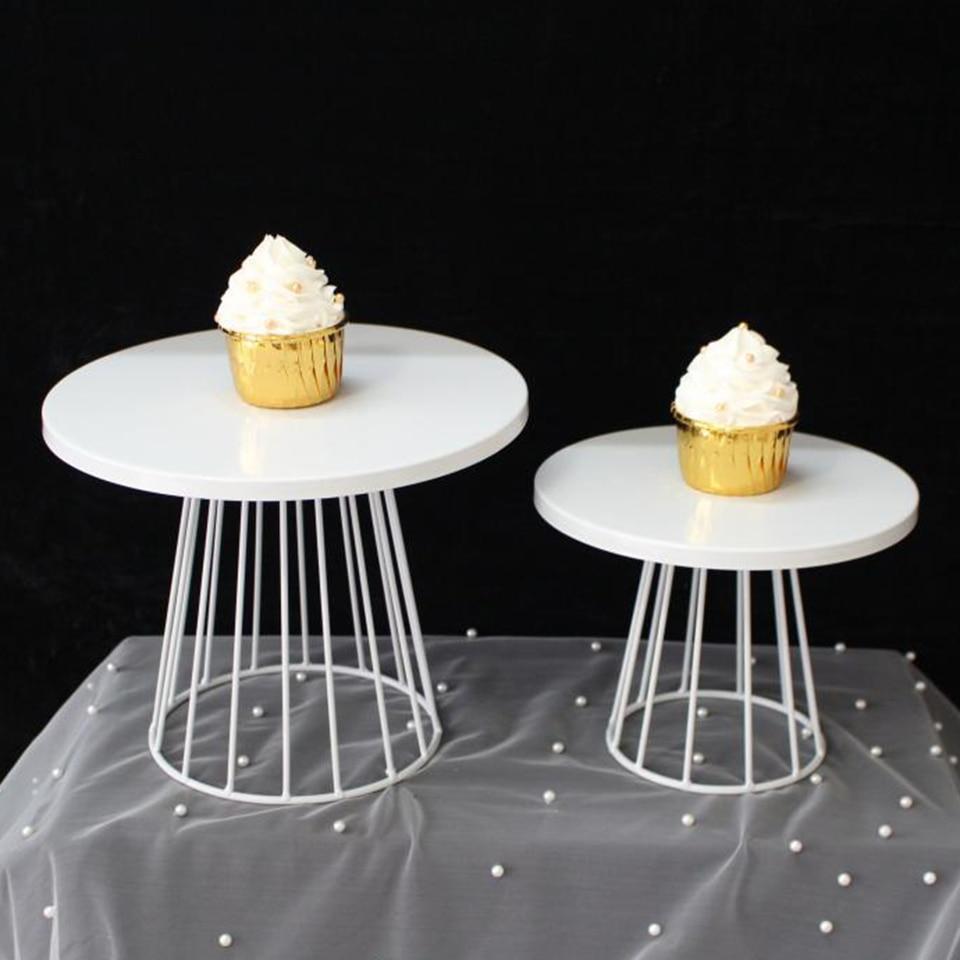 Transhome 1pcs White Cake Stand Metal Dessert Table Cake Tray Christmas Birthday Party Macaron Cupcake Rack Stand For Wedding