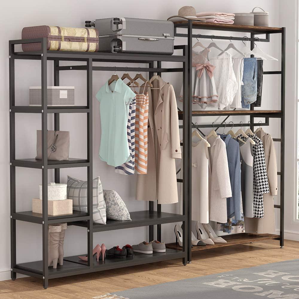 Free Standing font b Closet b font Organizer Heavy Duty 6 Shelves Storage Rack