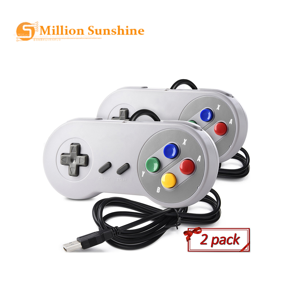 USB Controller Gamepad 2pcs Super Game Controller SNES USB Classic Gamepad Game Joystick For Raspberry Pi RPI147