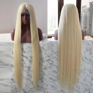 Peruka na koronce brazylijski nieprzetworzone włosy dziewicze 40 cali Lond długość blond peruki dla czarnych kobiet DJSBeauty