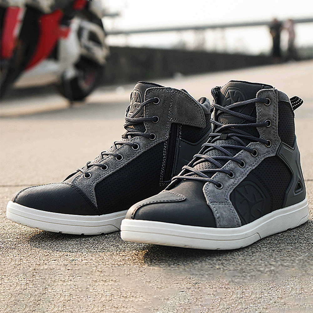 VASTER Motorcycle Mens Rider Shoes Motorbike Leather CE Armour Boots Motorcycle Men Waterproof Shoes Sneaker Fashion Black Colour with 4 Colour Laces UK 10