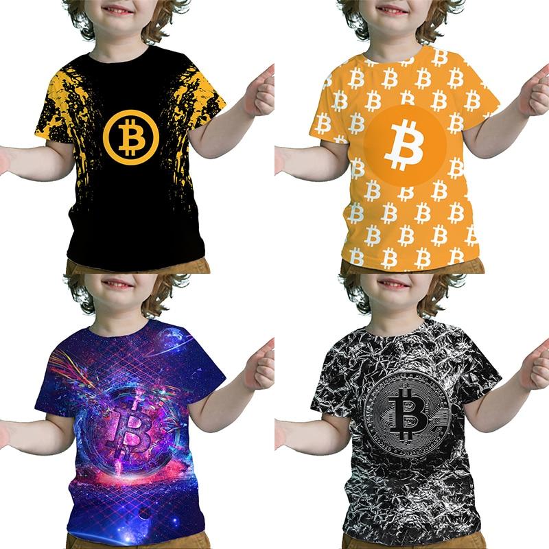 Toddler 3D Bitcoin Printed T-shirts Children Creative Pattern Tshirts Summer Kids Cool T Shirts Baby Boys Girls Tops Camiseta 1
