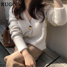 RUGOD Korean cashmere cardigan women Vintage V neck soft Knitted Crochet Coat Female Elegant Single Breasted streetwear jumper